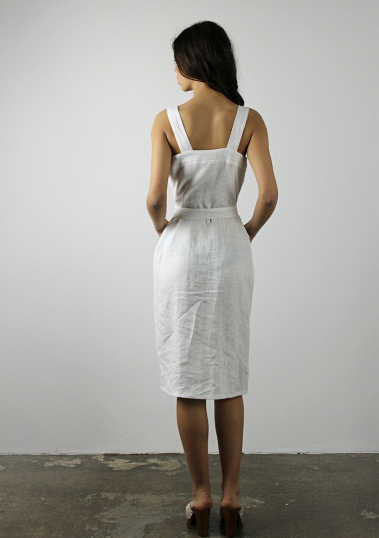 Button front linen dress Ava in optic white 8