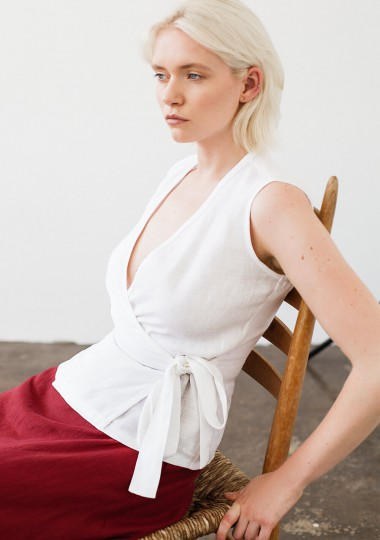 Linen wrap top Lydia in optic white
