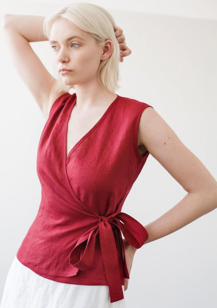 Sleeveless linen wrap top Lydia 1
