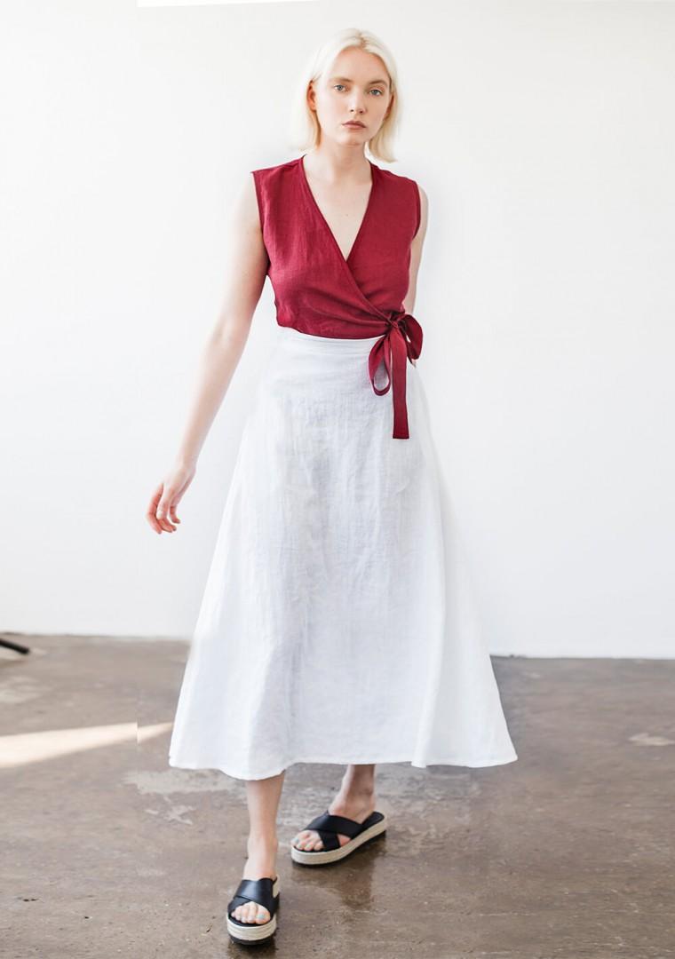 Sleeveless linen wrap top Lydia 3