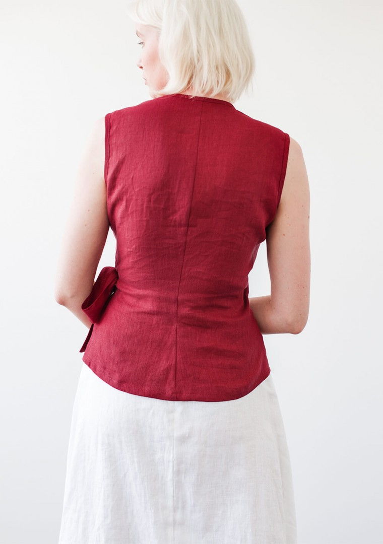 Sleeveless linen wrap top Lydia 4