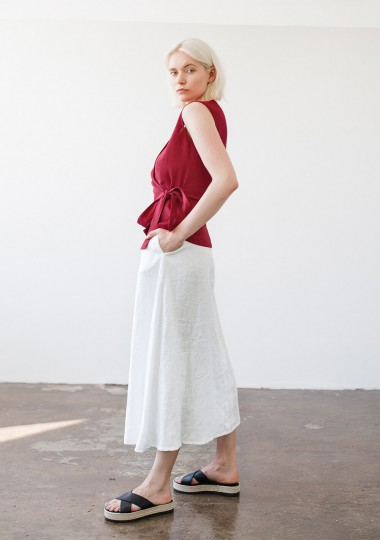 Sleeveless linen wrap top Lydia