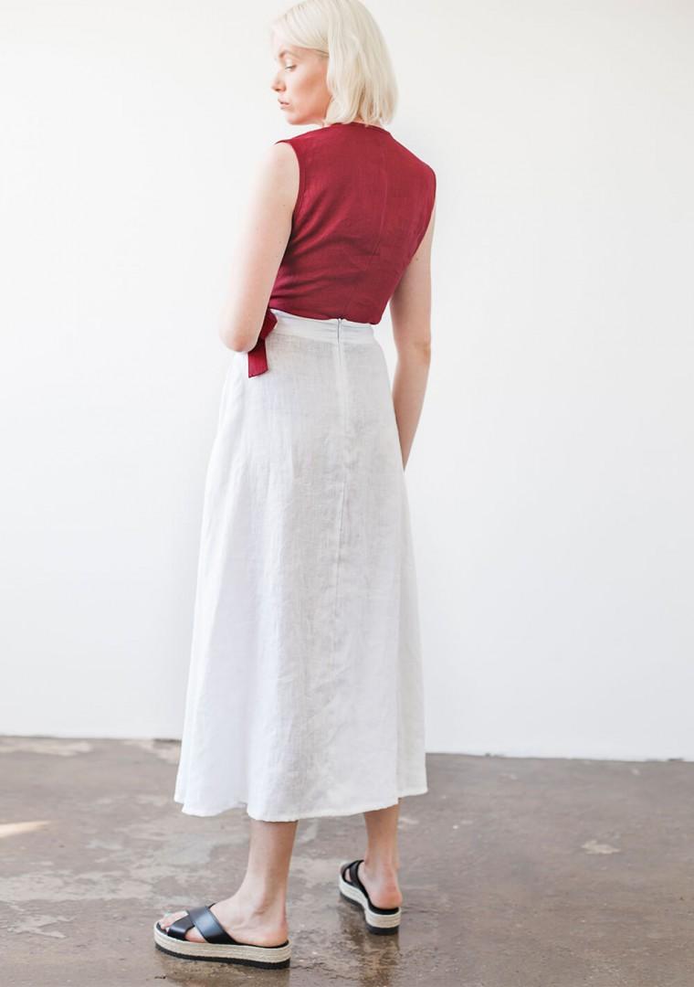 Sleeveless linen wrap top Lydia 5