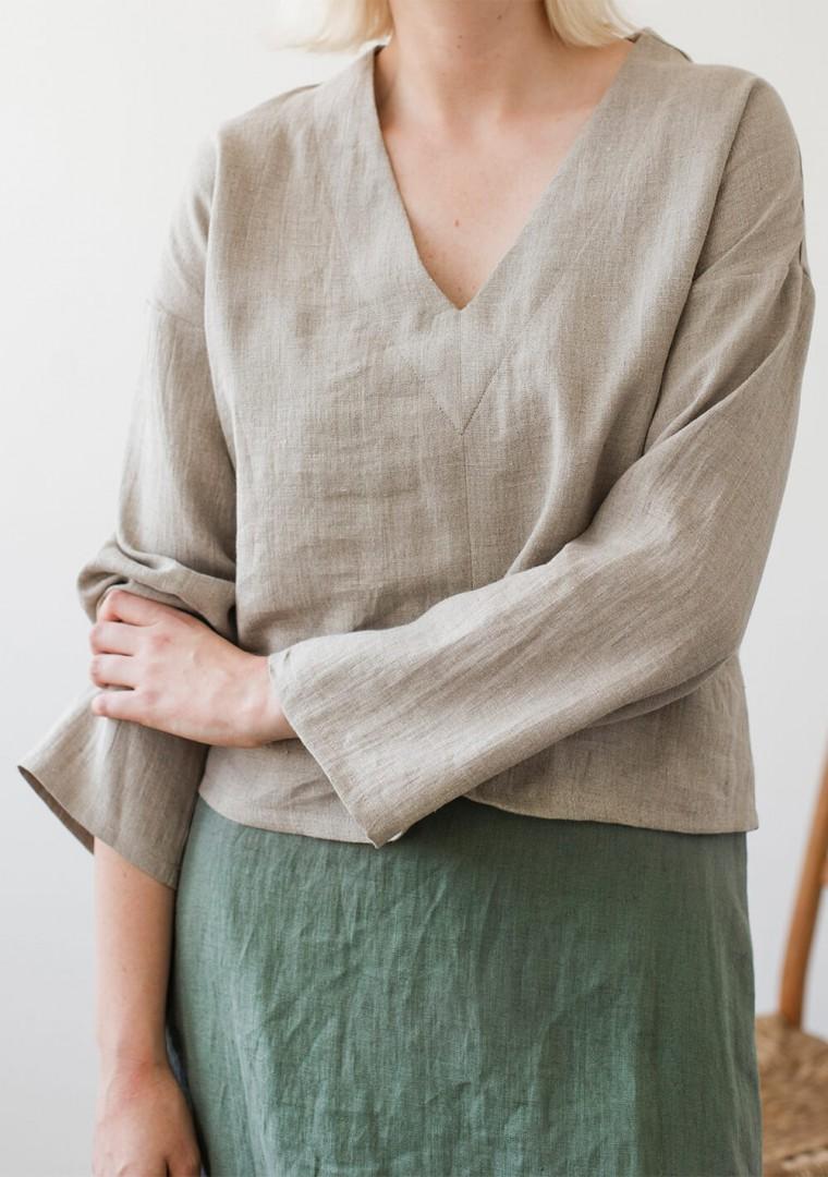 Linen V neck top Pandora with long sleeves 1