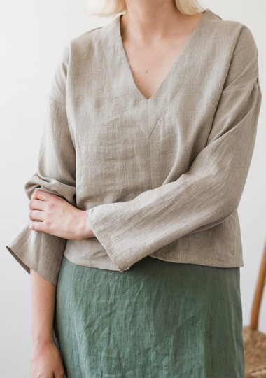 Linen v neck top Pandora with long sleeves