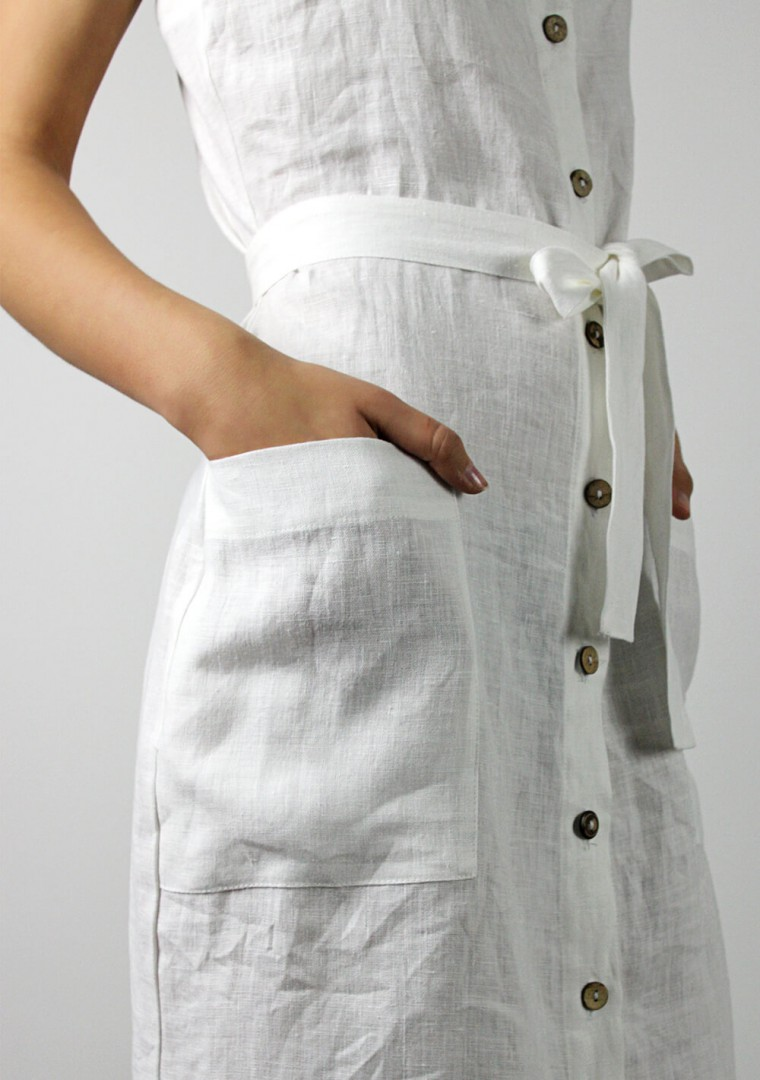 Button front linen dress Ava in optic white 7