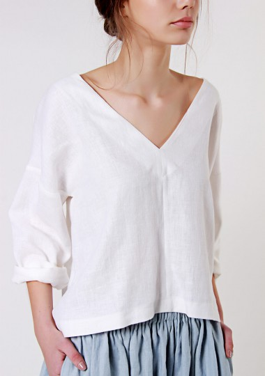 Linen v neck top Pandora in optic white