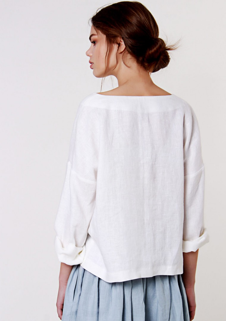 Linen v neck top Pandora in optic white 3