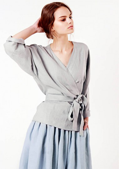 Linen wrap top Roma in light gray