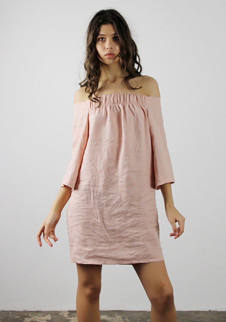 Off shoulder linen dress Bianca 1