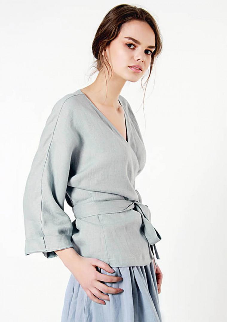 Custom Made Women Clothing Black Linen Shirt Fitted Black Wrap Blouse Linen Wrap Top Custom Made Linen Top