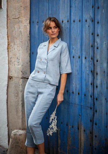 Notched collar linen shirt Salma