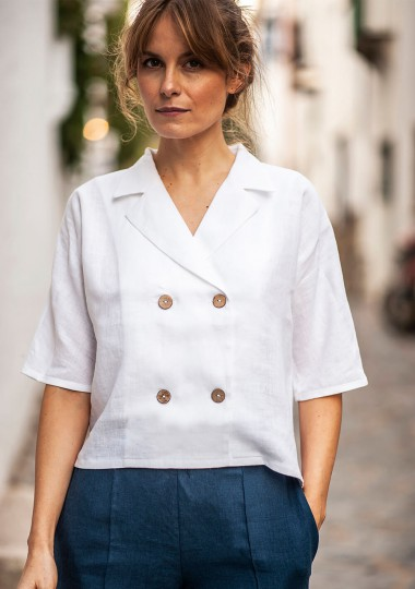 Linen shirt Salma in optic white