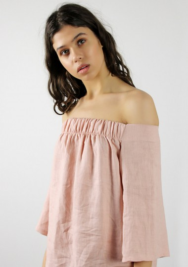 Off shoulder linen dress Bianca