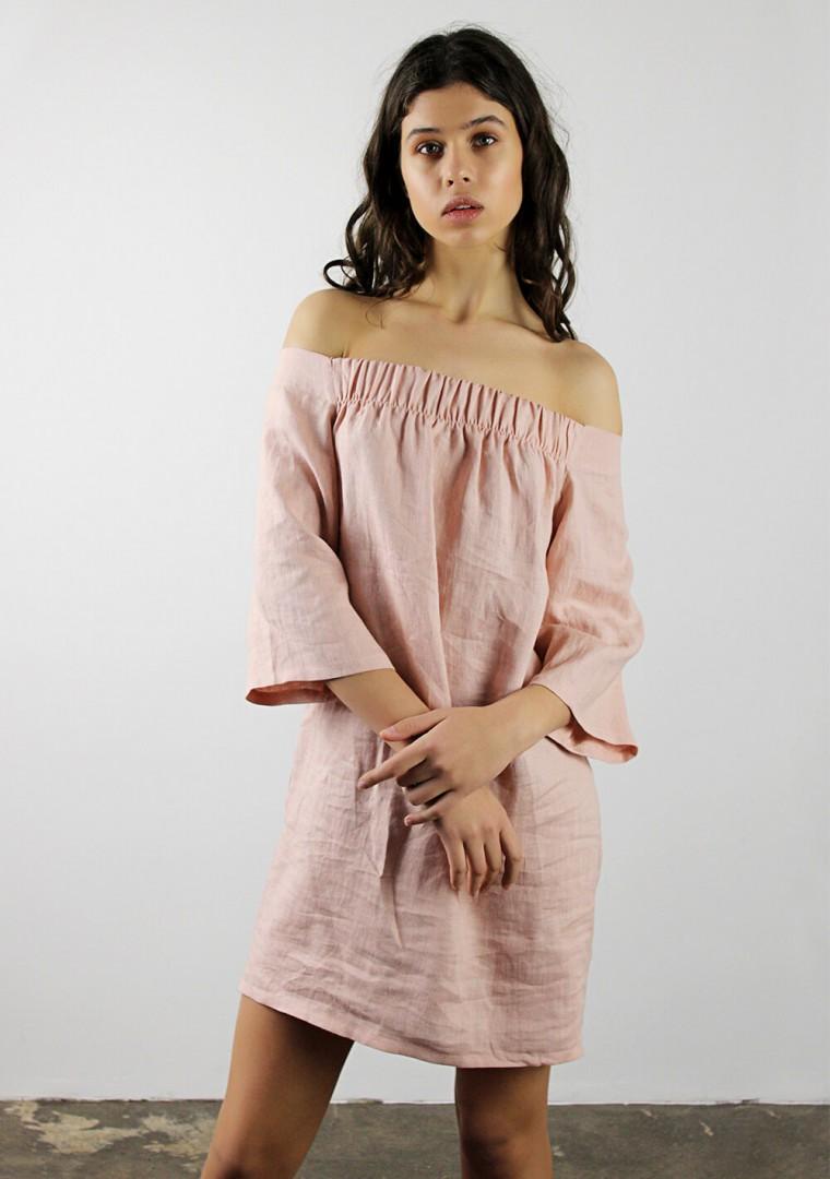 Off shoulder linen dress Bianca 4