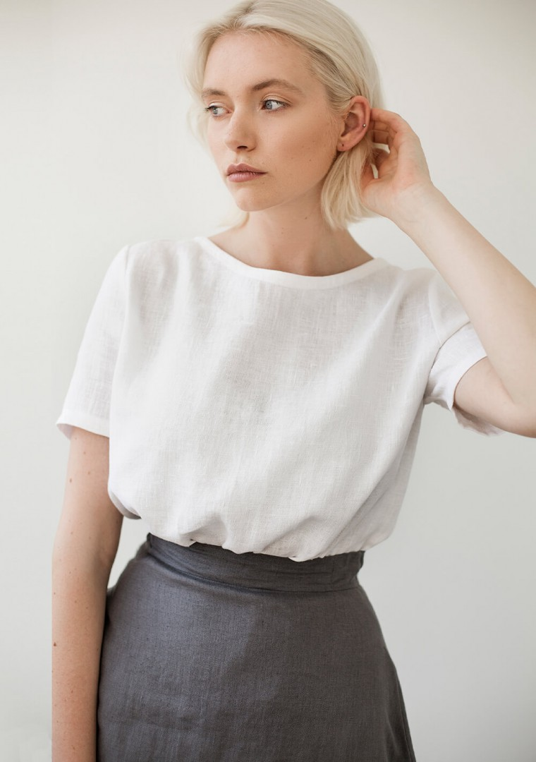 Linen T-shirt Yuna in optic white 1