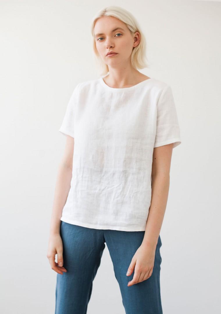 Linen T-shirt Yuna in optic white 2