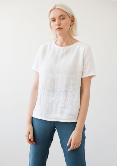 Linen T-shirt Yuna in optic white