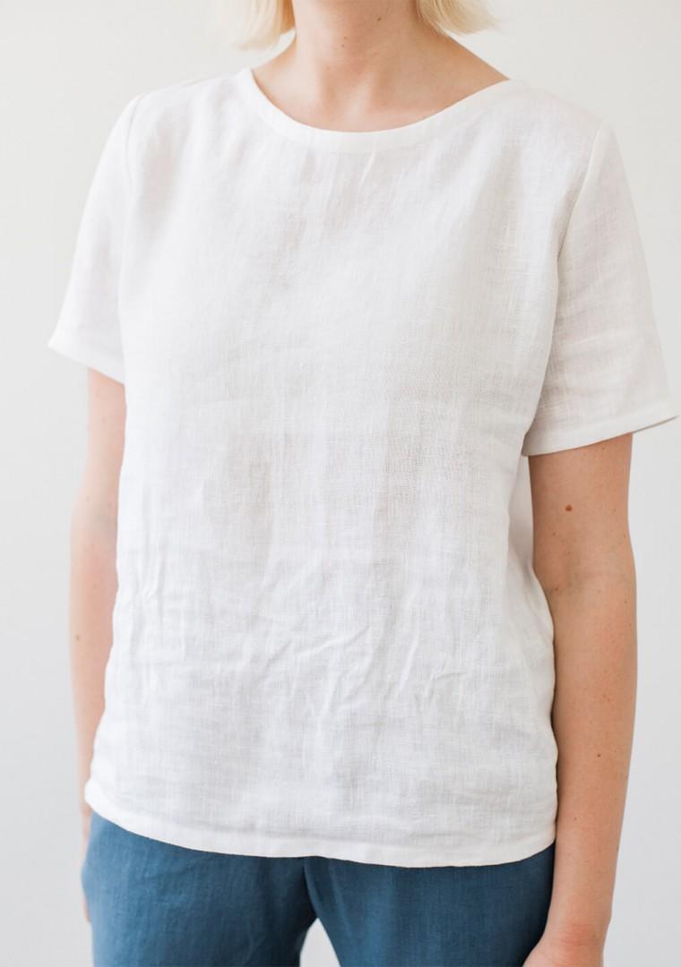 Linen T-shirt Yuna in optic white 3