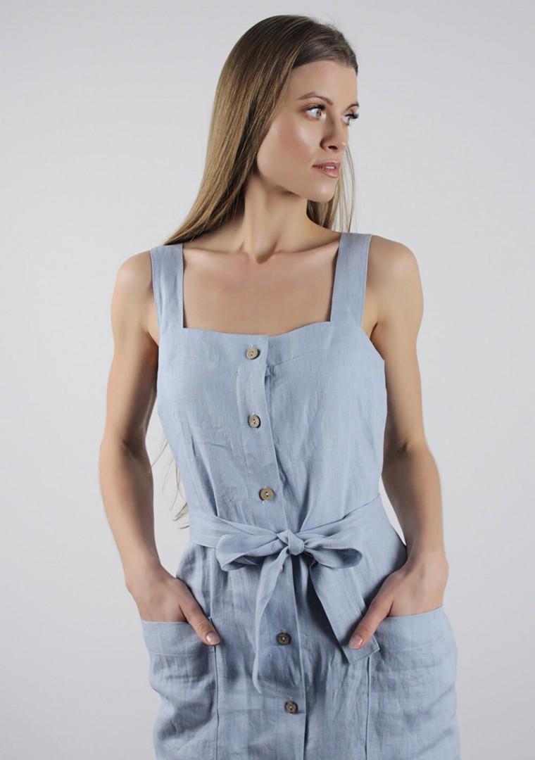 Linen dress Ava in bluish gray 2