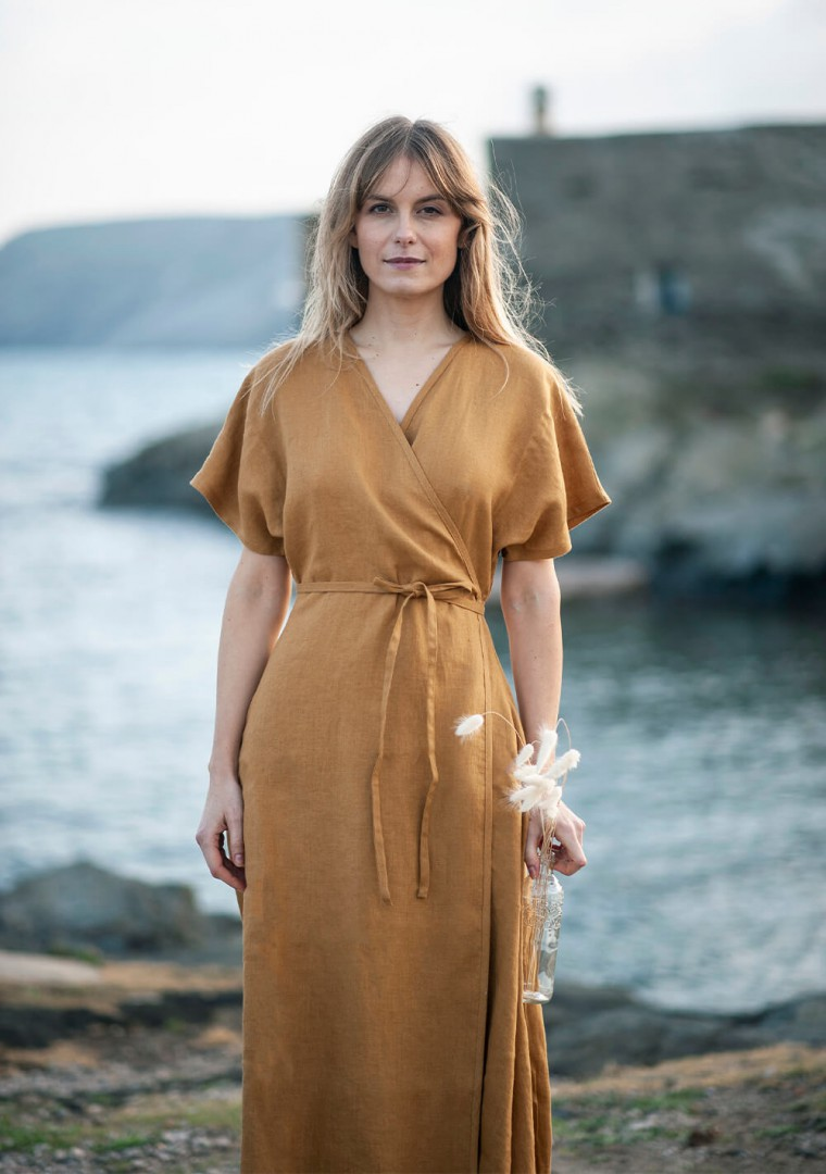Maxi linen wrap dress Delilah in mustard 4
