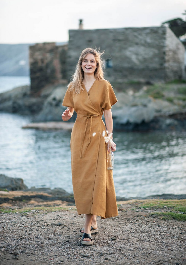 Maxi linen wrap dress Delilah in mustard 3