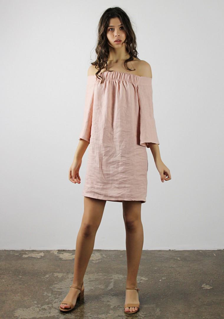Off shoulder linen dress Bianca 3