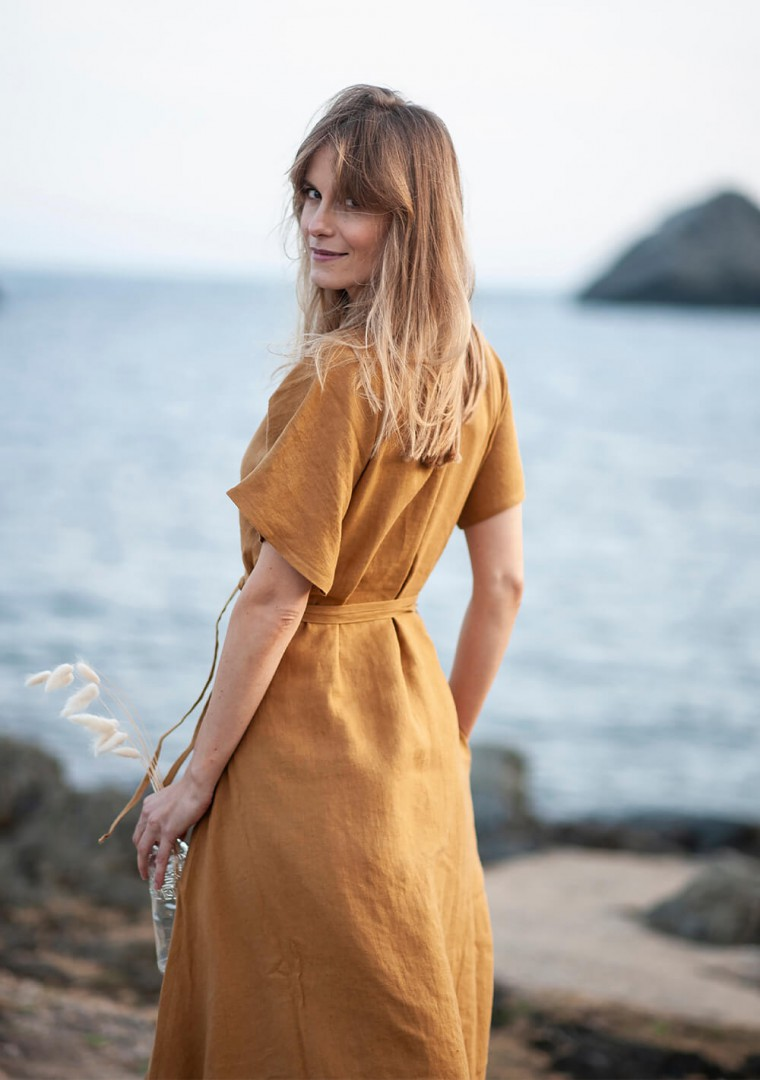 Maxi linen wrap dress Delilah in mustard 8
