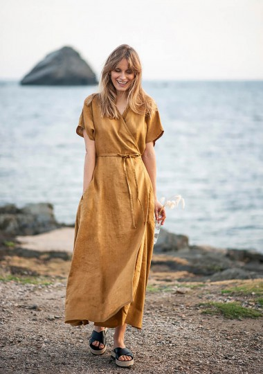Maxi linen wrap dress Delilah in mustard