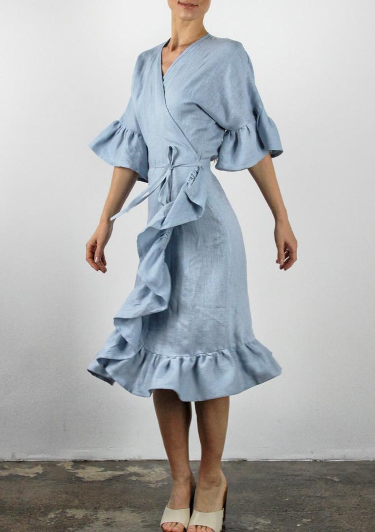 Linen wrap dress Reina 4