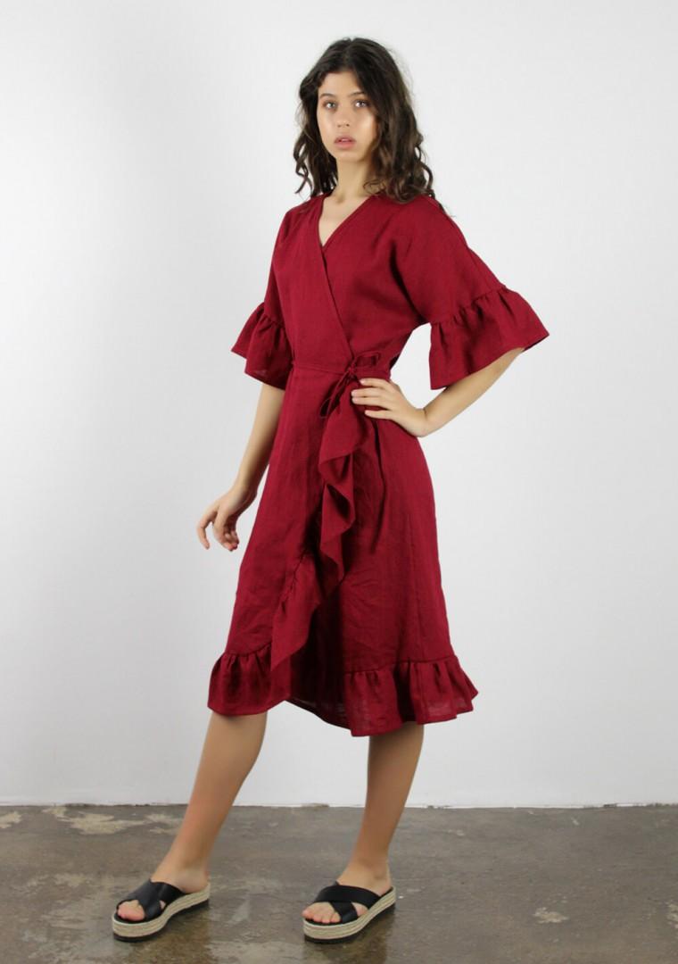 Linen wrap dress Reina 5