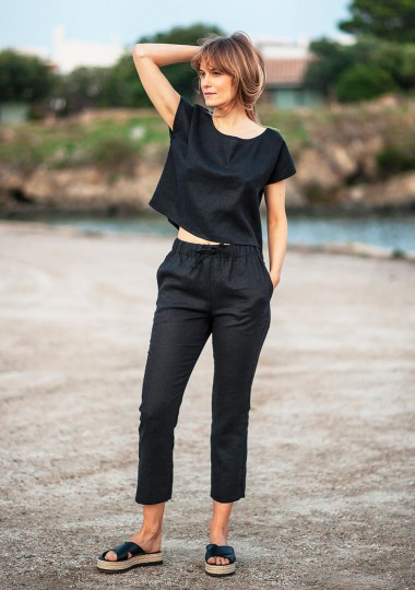 Linen pants Kaia in black