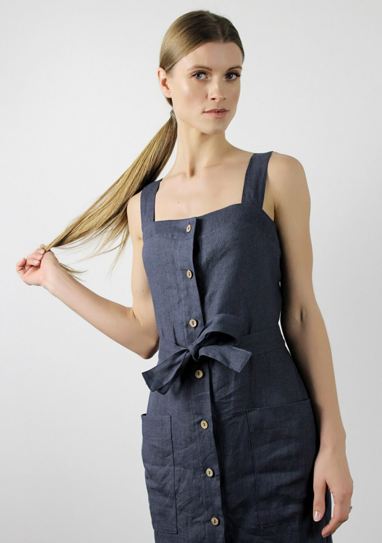 Linen dress Ava in bluish gray 5