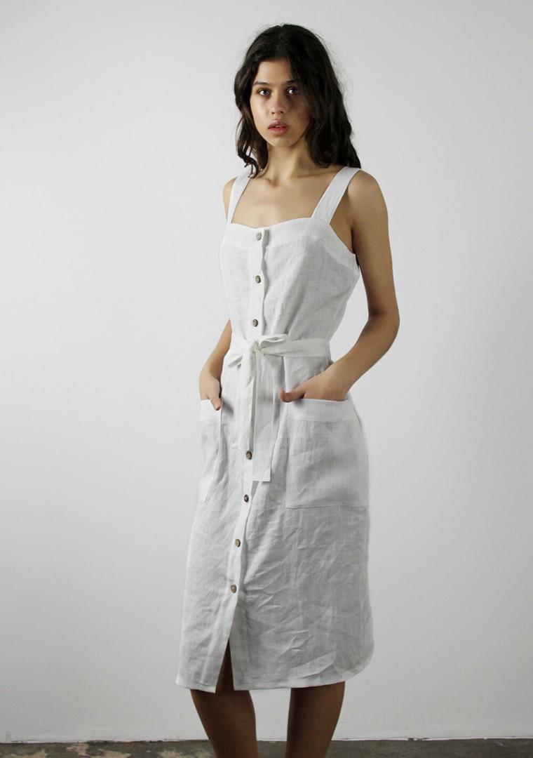 Linen dress Ava in bluish gray 6