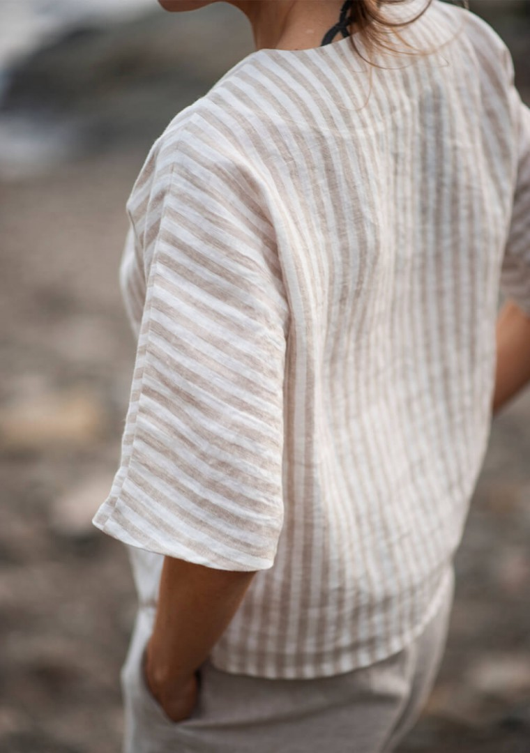 Striped linen top Elodie 2