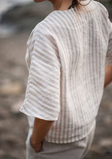 Striped linen top Elodie