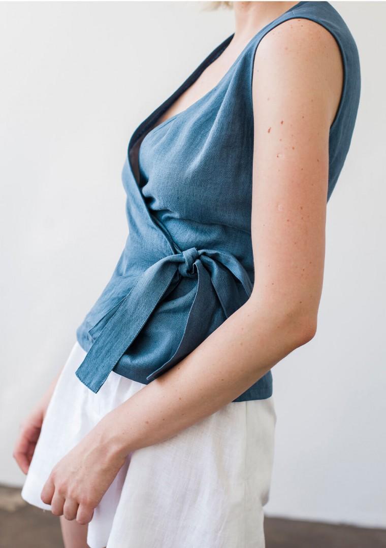 Sleeveless linen wrap top Lydia 2