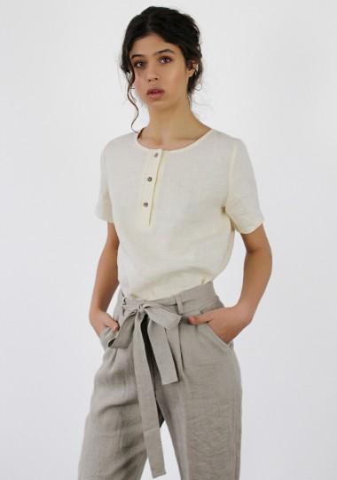 Linen T-shirt with button detail Nina