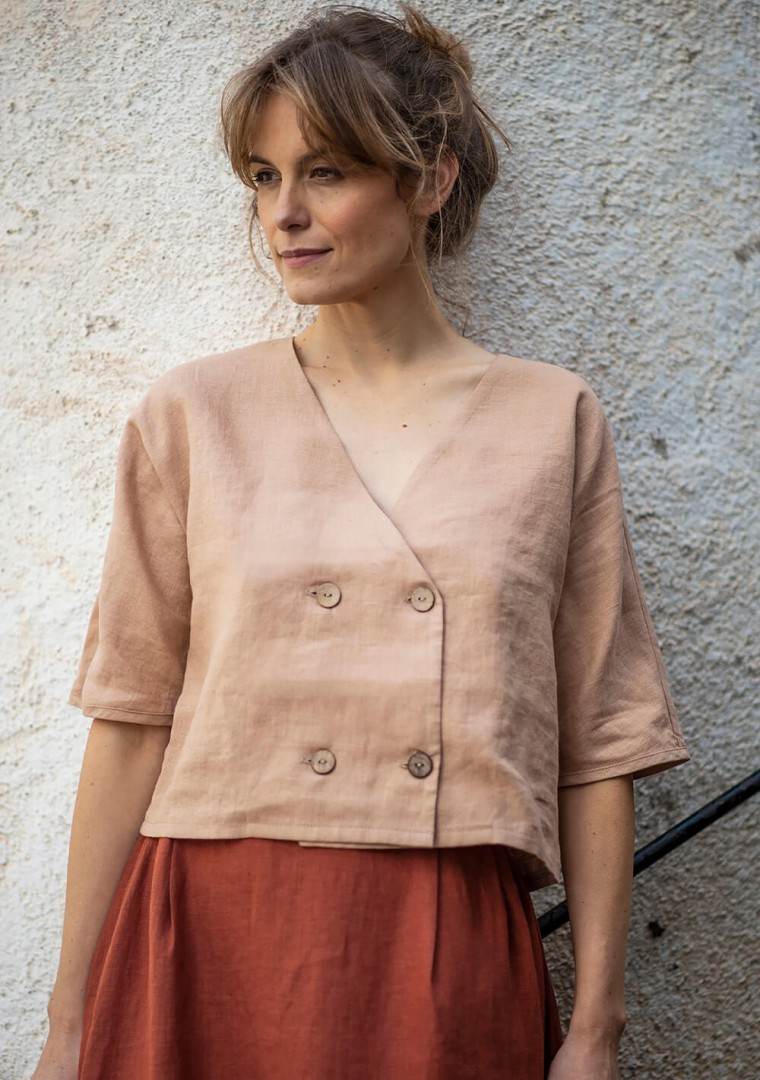 Double breasted linen top Willa 3