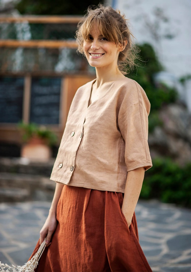 Double breasted linen top Willa 1