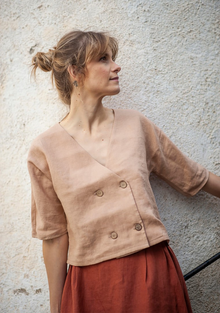 Double breasted linen top Willa 5