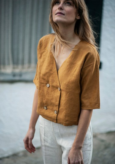 Linen top Willa in mustard