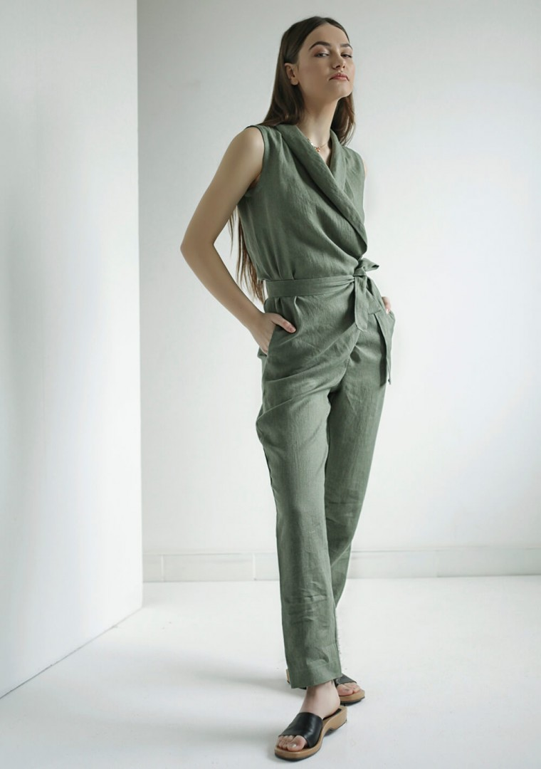Linen wrap jumpsuit Giovanna 1