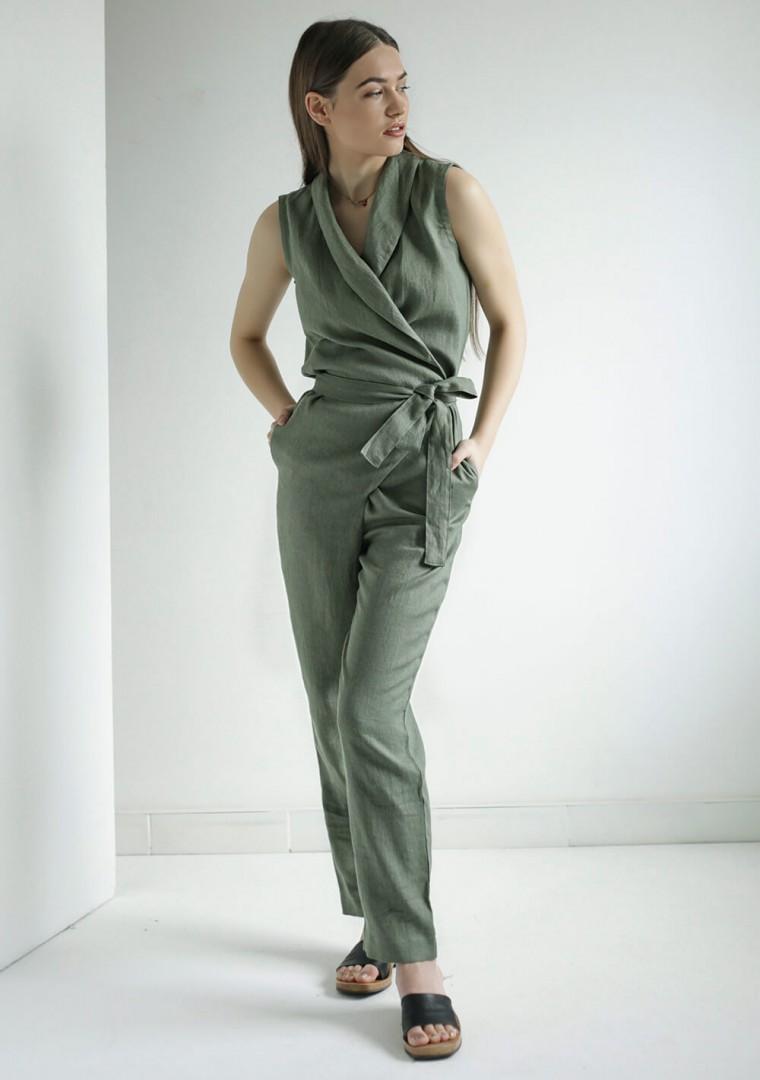 Linen wrap jumpsuit Giovanna 3