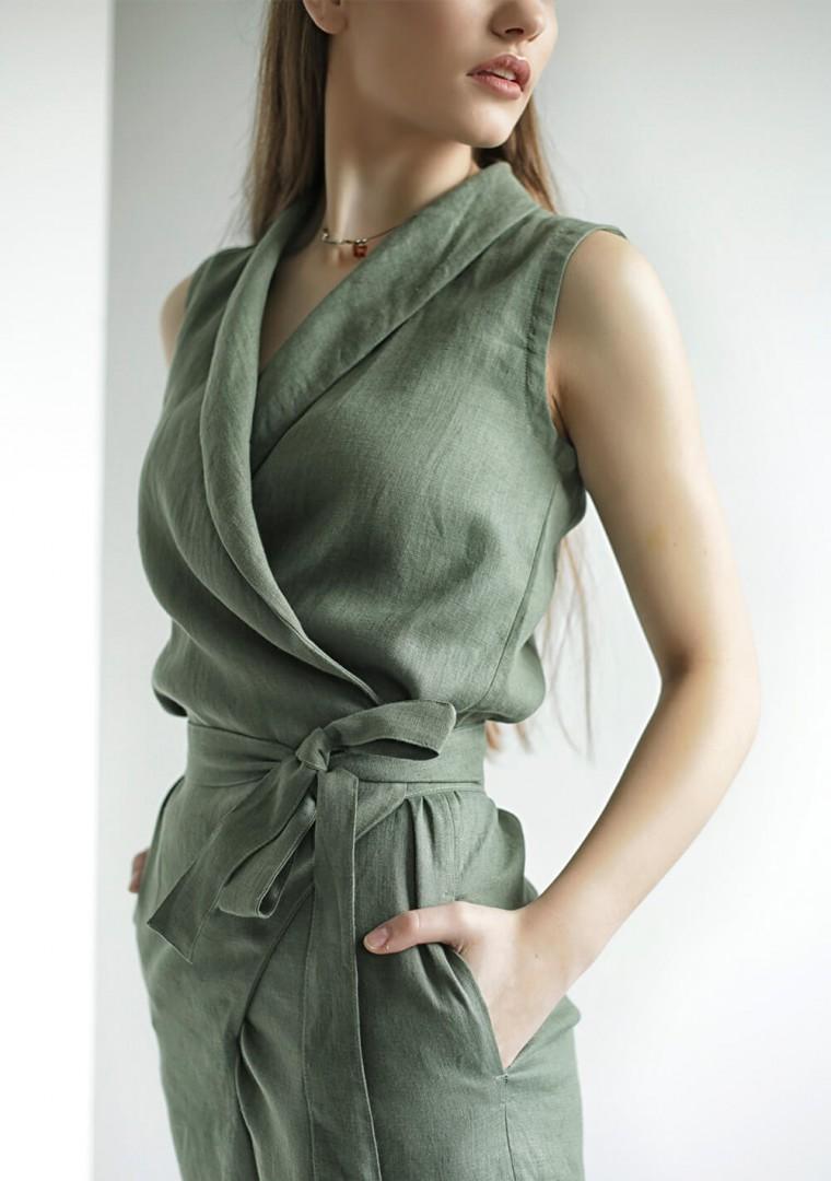 Linen wrap jumpsuit Giovanna 4
