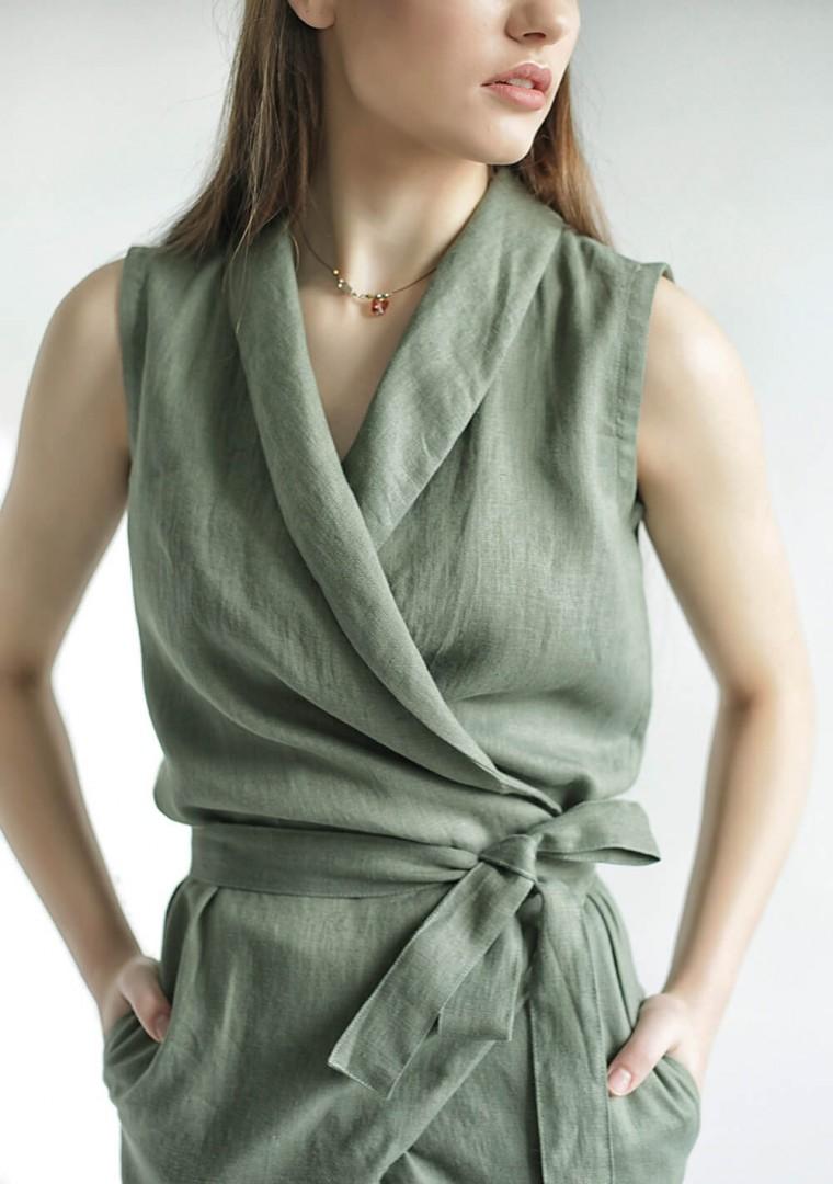 Linen wrap jumpsuit Giovanna 2