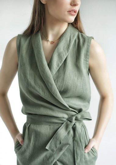 Linen wrap jumpsuit Giovanna