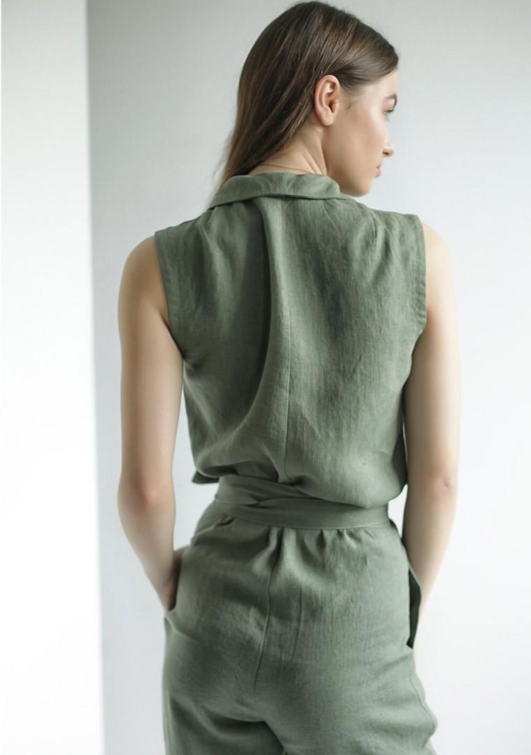 Linen wrap jumpsuit Giovanna 6