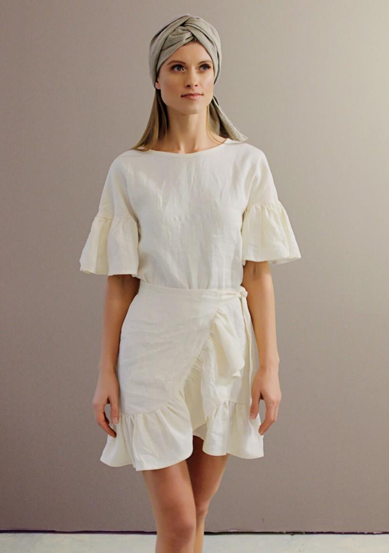 Linen dress Cheryl in ivory 3