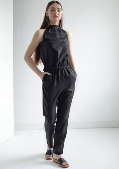 Linen jumpsuit Mila in black